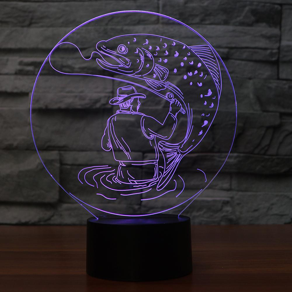 7 Colors Visual 3D Man Catch Big Fish Table Lamp Atmosphere Led Decor Fishing Night Lights Kids Touch Switch Light Fixture Gifts cool skull middle finger 3d skull decor 3d usb led lamp pop rock music boy room decor 7 colors change night light visual illusio