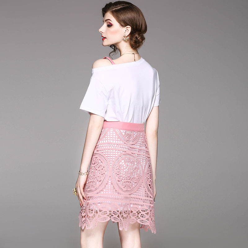 spring summer woman clothing set pink letter pattern embroidery chest x-long white t-shirt hollow out pink lace skirt cute suit
