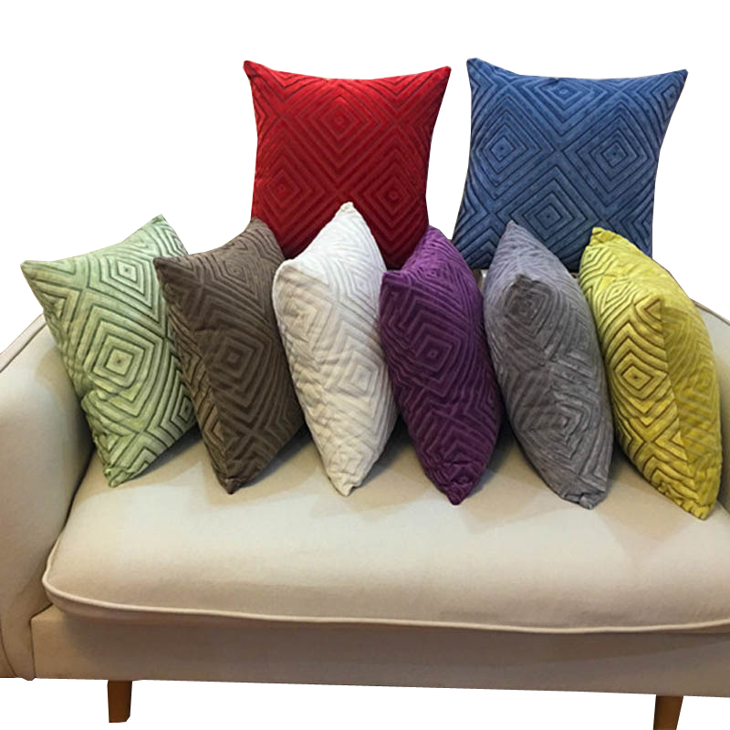 Home Textile Hearty Chenille Fabric Sofa Cushion Cover Plaid Jacquard Style Throw Pillow Case Cover 45x45/55x55cm Size For Home Pillow Decoration Limpid In Sight Home & Garden