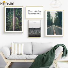 The motto of traveling alone Road Forest Text Quote Wall Art Canvas Painting Picture For Living Room Scandinavian Home Decor home alone