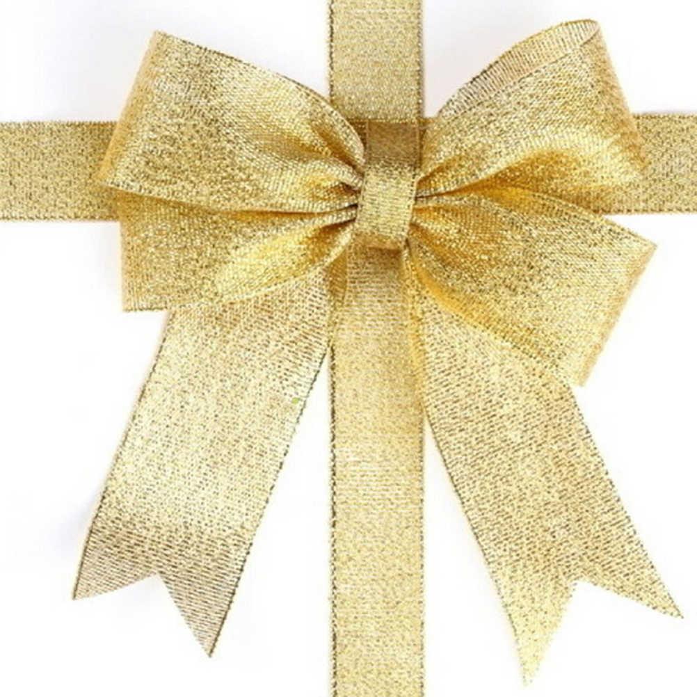 Regalo Della Decorazione 25 Yard Organza Glitter Nastri Per La Cerimonia Nuziale Del Mestiere Decorazioni bow 6mm 10mm 20mm 40mm larghezza Dell'oro Del Nastro di Colore