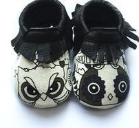 Cute animal print Genuine Leather Newborn Boy Girl Baby bow Moccasins Soft sole Fringe Soft Soled Non-slip Footwear Crib Shoe