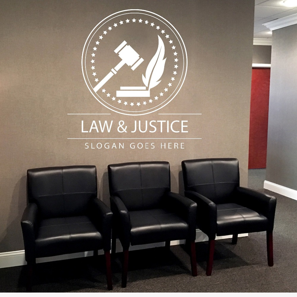Lawyer Wall Decal Custom your Company Name Vinyl Wall Stickers Home Interior Decoration Justice Art Decals Mural D574 image