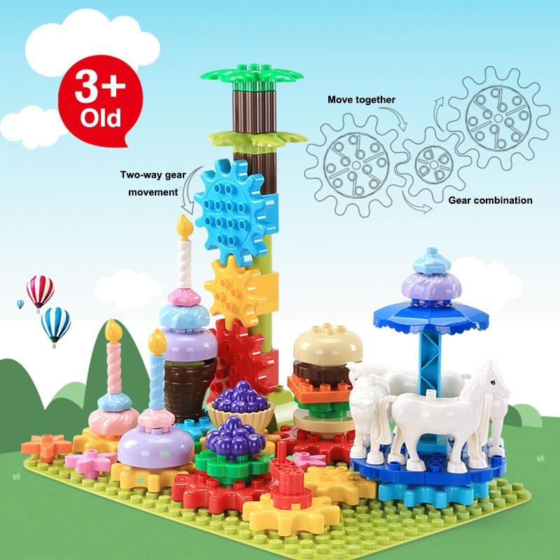 Duplo grosses particules mon carrousel partie créateur blocs de construction jouets éducatifs pour enfants Compatible technique