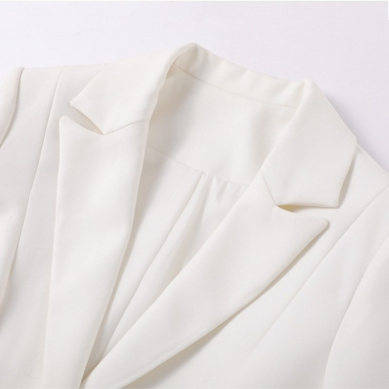 Office Dames Slim Fit White Solid Flare Broek Past Lange Mouw Enkele Breasted Blazer Suits Fashion Womens Tweedelige Sets 2019 - 4