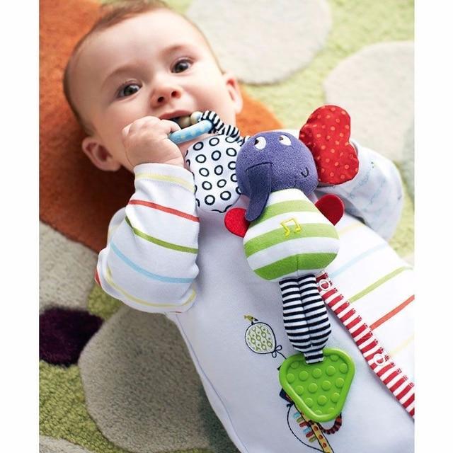 Brinquedo De Pelúcia cama Educacional Chocalhos Infantis Carrinho de Animal de Pelúcia Crianças Bonecas de Elefante Música Pendurado Cama Sino Brinquedos Do Bebê Mordedor