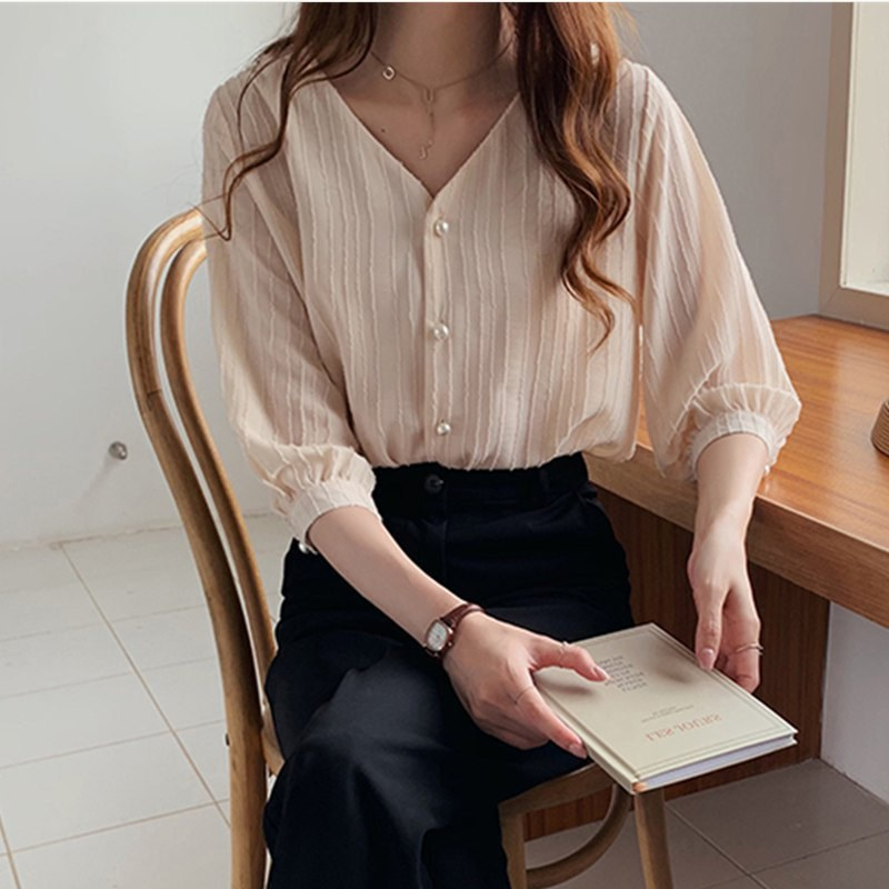 Women Loose Casual Chiffon V Collar Summer Sweet Solid Color Puff Sleeve Bottoming Blouse 2019 Summer New Fashion Shirt For Lady