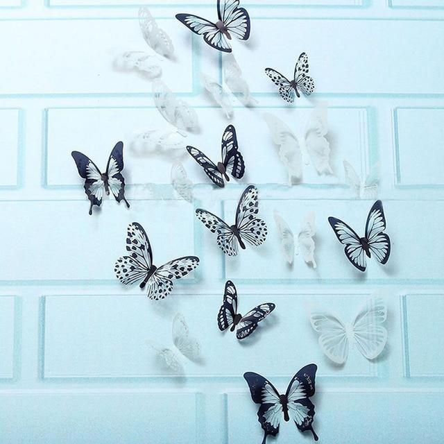 3D Black & Transparent Butterfly 18pcs 21*29.5cm/PC 10
