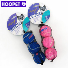 HOOPET Pet Play Ball Squeaker Toy Sound Dog Happy Molar Tennis Balls Two Colors
