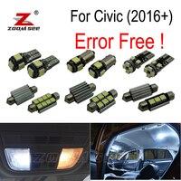 9pcs LED Backup Reverse lamp + interior dome map light kit + Side marker Lights for Honda for Civic 10th Gen (2016+)
