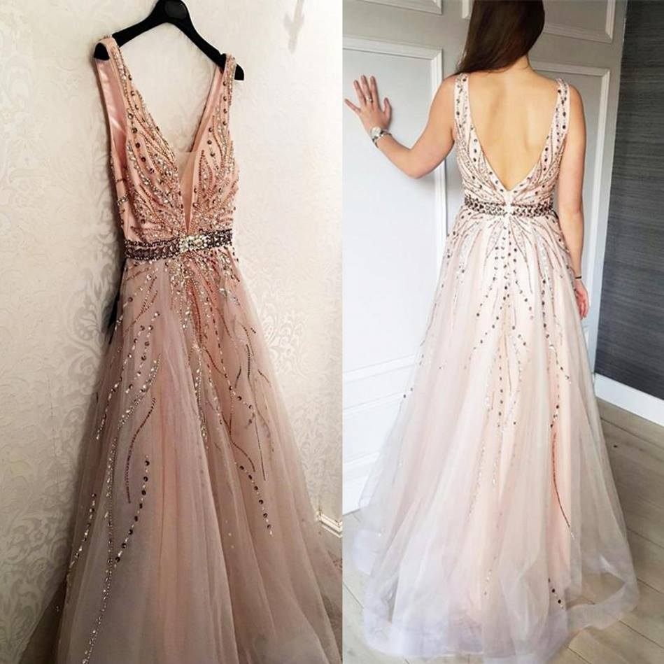Sexy Backless Beading Crystal   Prom     Dresses   Long Elegant V-Neck Tulle   Prom   Gown Formal Party   Dress   with Belt Vestidos De Gala