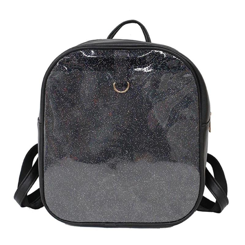 Female Preppy Glitter Backpack Girl Simple Travel PVC Rucksack Ladies  Casual Small Zipper Shoulder School Bags Mochila Beach Bag