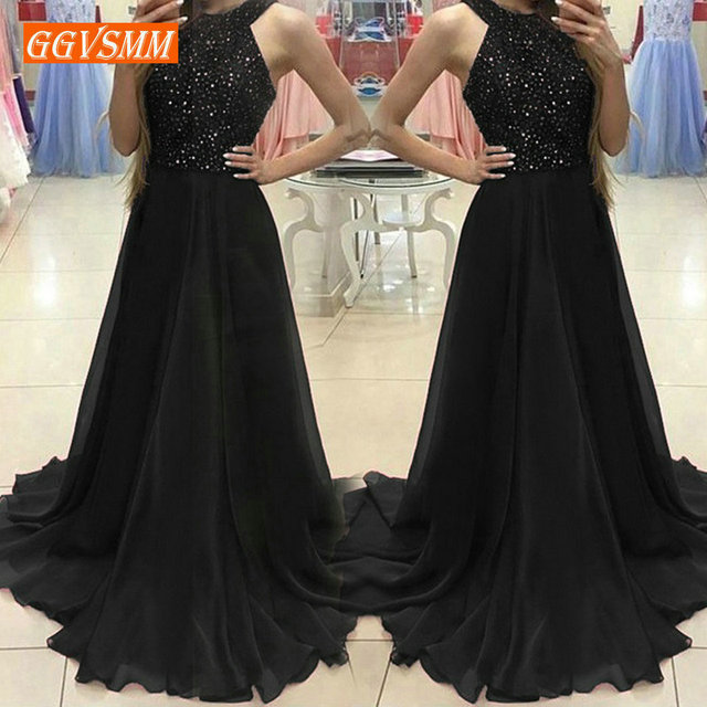 popular Black Evening Gowns Long 2019 Culb Party Dresses Women Halter-Neck Chiffon Sequined A-Line Floor Length Evening Dress