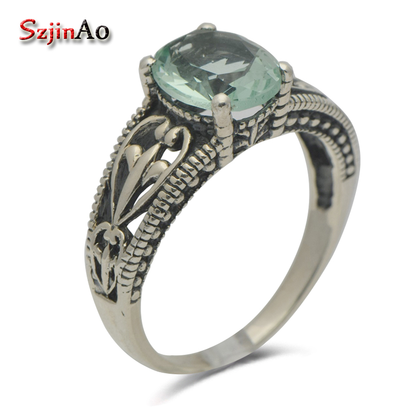 Szjinao fashion jewelry design unique antique real 925 sterling silver series aquamarine ring for women wedding party