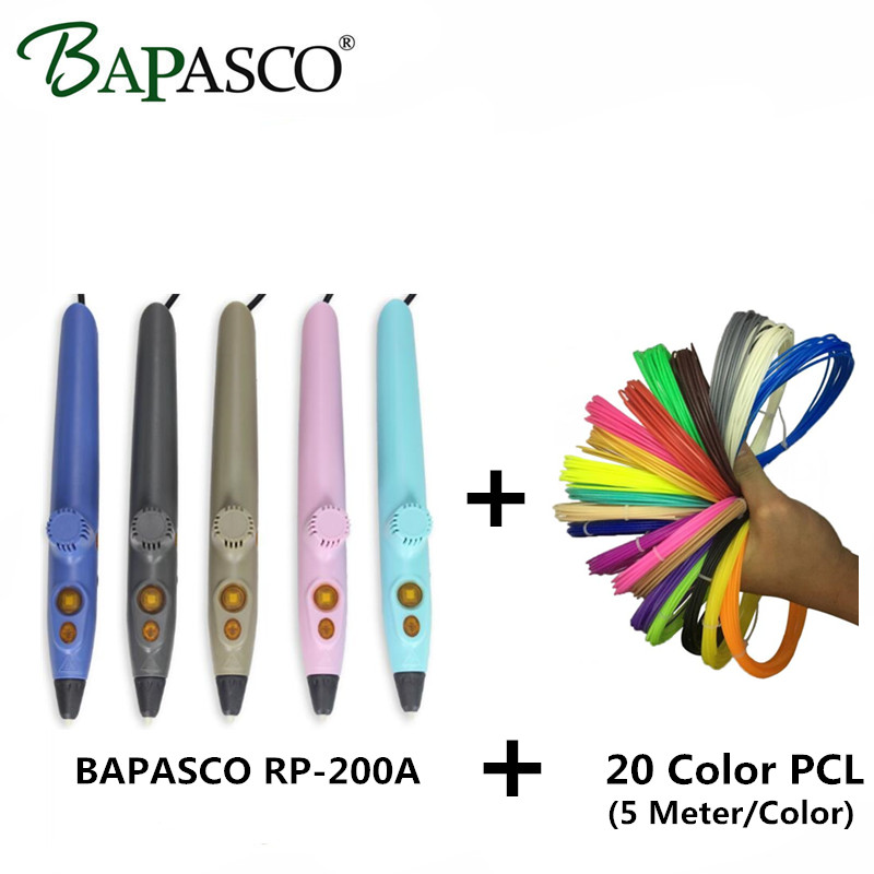 Newest BAPASCO 3D Pen+20Color PCL Filament 3D Doodle Pen For Kids Best Intelligence Education Simplest 3D Magic Pen USB DC 5V 2A kids child gift education toy 3d drawing doodle pen 3d printer pen