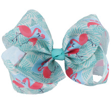 7 Sweet Girls Large Bowknot Ribbon Hairclips Flamingo Printed Hair Bows Children Accessories Hairgrips