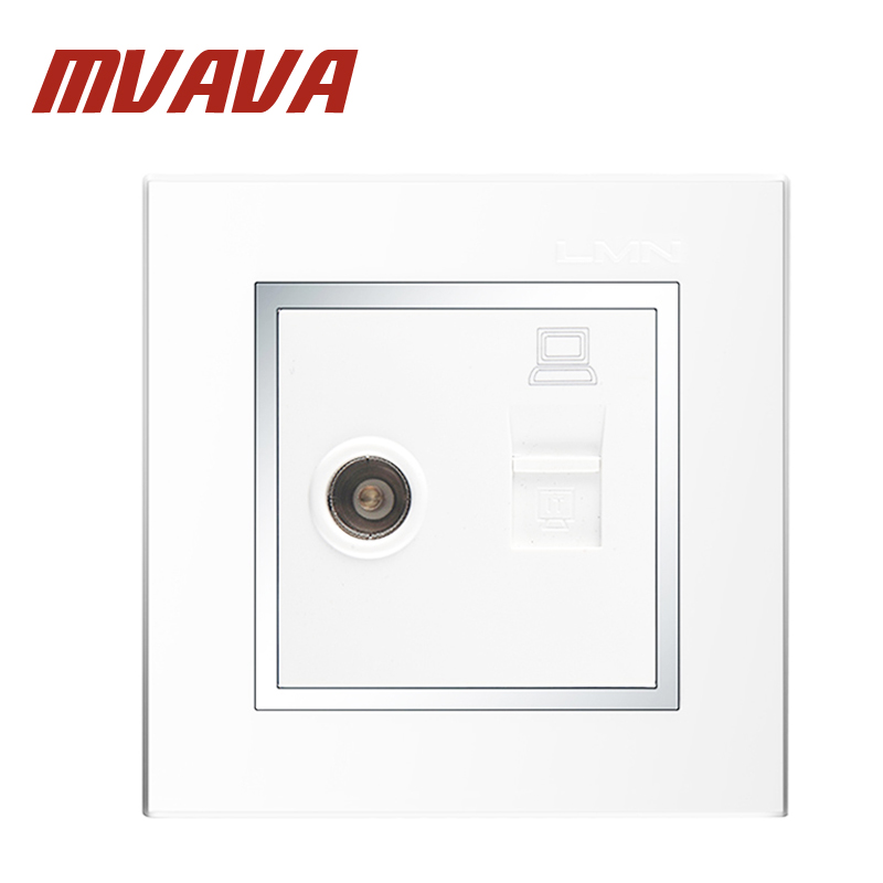 MVAVA Double Port Computer And Television Wall Socket Electric RJ45 Network TV Aerial Socket Wall Mount
