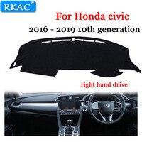 Otomobiller ve Motosikletler'ten Araba Kir Önleme Pedi'de Pano paneli Honda Civic için 10th gen 2016 2017 2018 Dash Mat güneş gölge Dash masası örtüsü oto aksesuarları sağ el sürücü