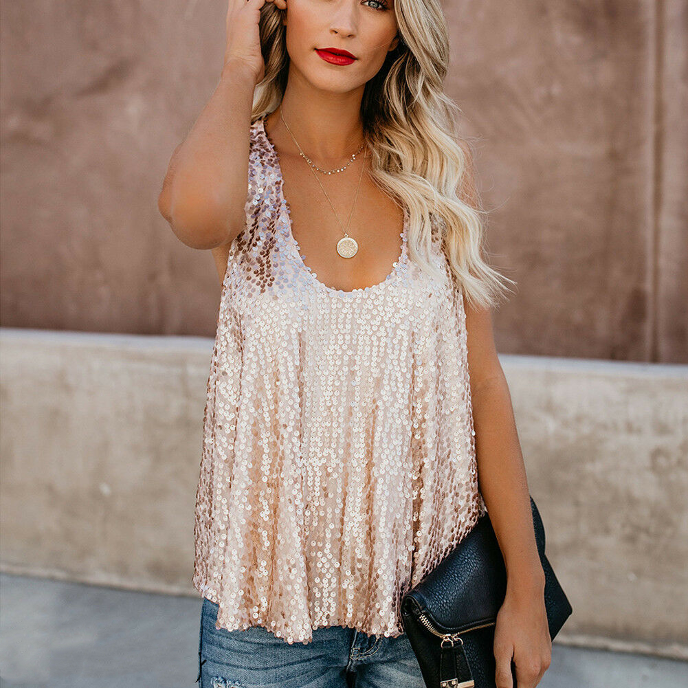 New Fashion Sexy Women Sequin   Tops   Shirt Female Sleeveless Round Neck   Tops   Summer Women Street Wear Party Clothes