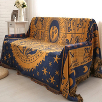 Hand woven Pure cotton Retro starry sky carpet thin blanket Ethnic Art Throw Mat blanket bed cover Felts tapestry 130X170 CM
