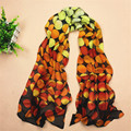 Summer Women Chiffon Big Multicolor Dots Woman Sunshade Scarves Gradual Colors Georgette Female Flower Silk Wraps 50 *160cm J047
