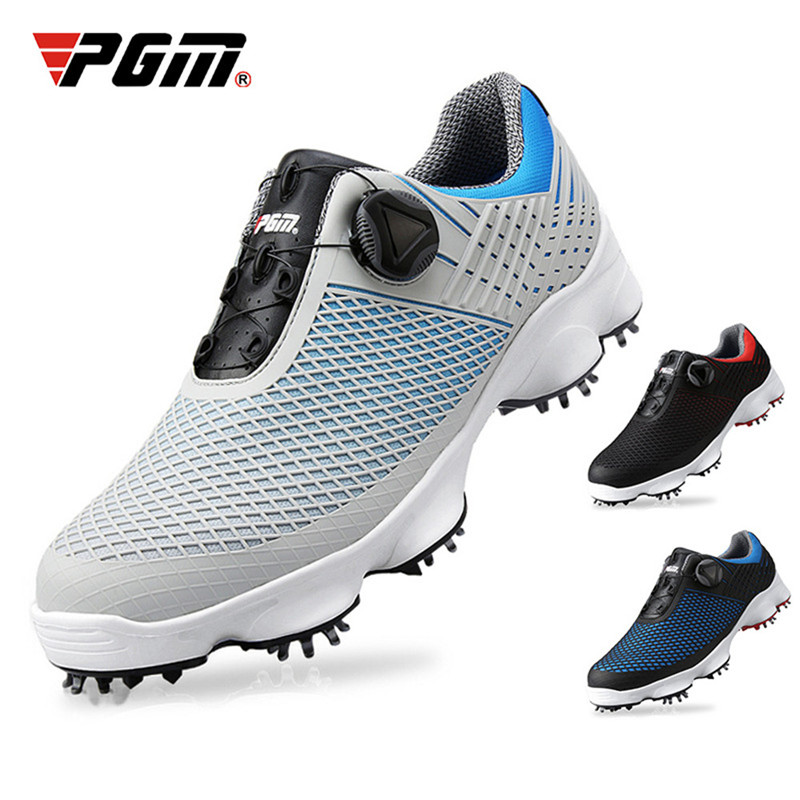 2019 New PGM Golf Shoes Men s Waterproof Breathable Antiskid Golf Shoes Male Rotating Shoelaces Sports