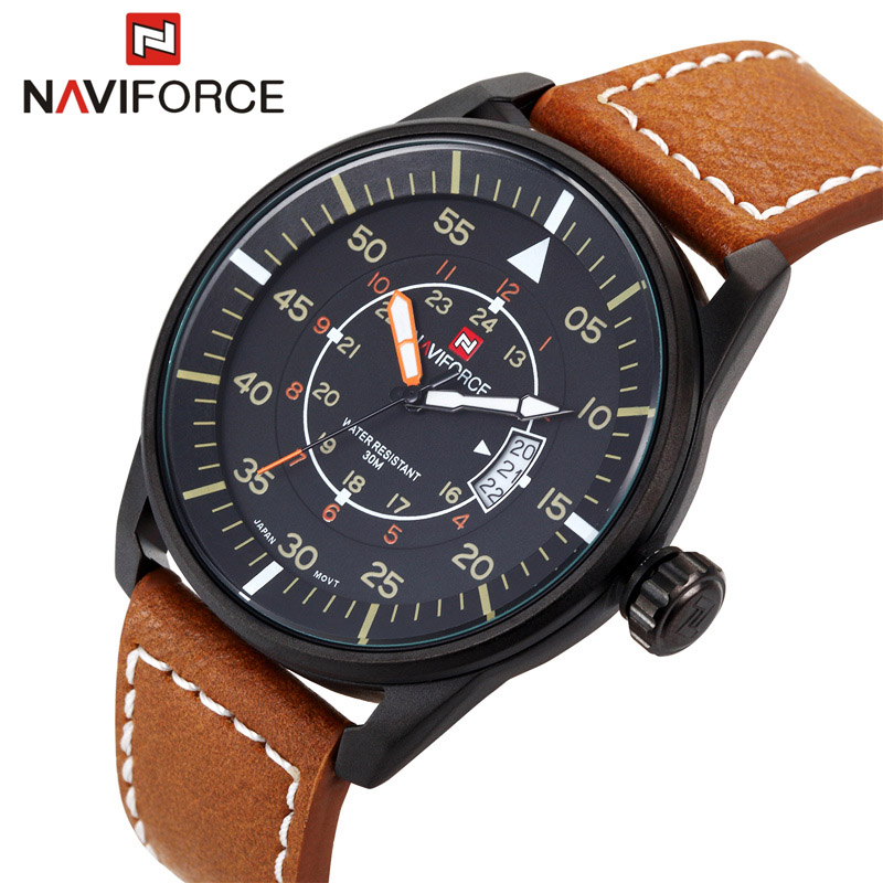 NAVIFORCE Original Luxury Brand Casual Sports Quartz Watch Men Leather Army Military Wristwatch Calendar Clock relogio masculino