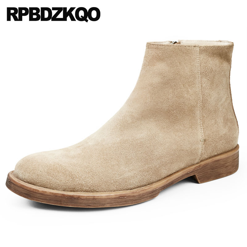 Genuine Leather Boots Comfortable Designer Shoes Men High Quality Short Suede Autumn Booties Zipper Vintage Full Grain Top FallGenuine Leather Boots Comfortable Designer Shoes Men High Quality Short Suede Autumn Booties Zipper Vintage Full Grain Top Fall