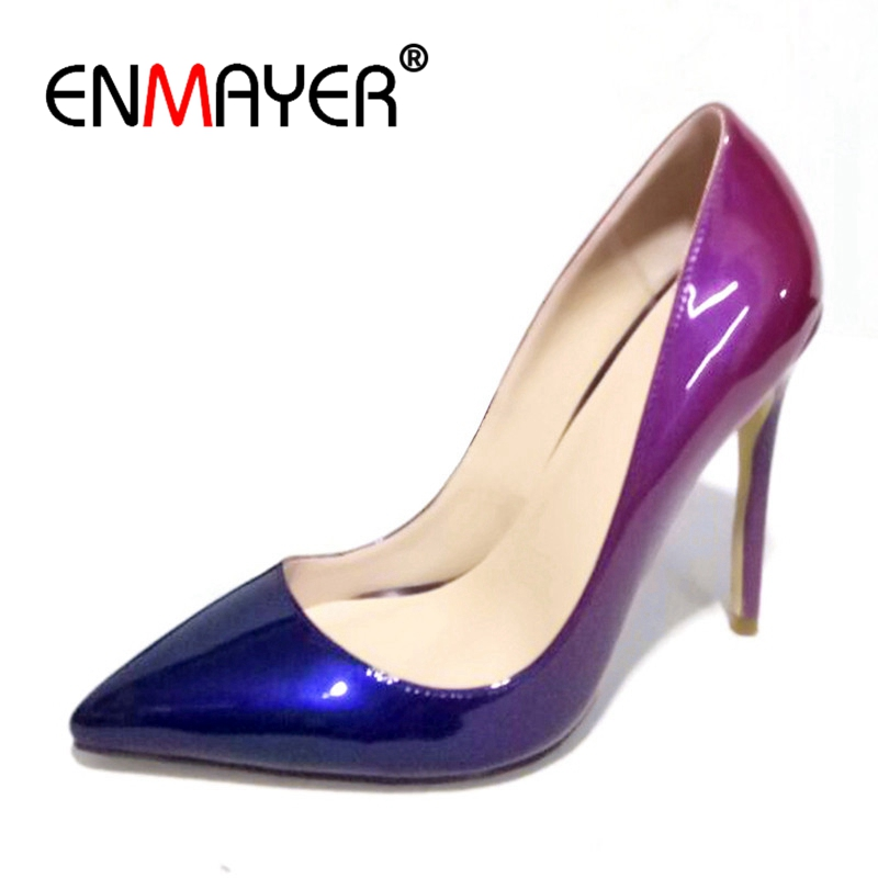 Enmayer Women High Heels Ladies pumps Pointed Toe Shallow Shoes Woman Casual Sexy Spring Big Size 34-47 Thin Heel Gradient CR508 enmayer high heels pointed toe spring