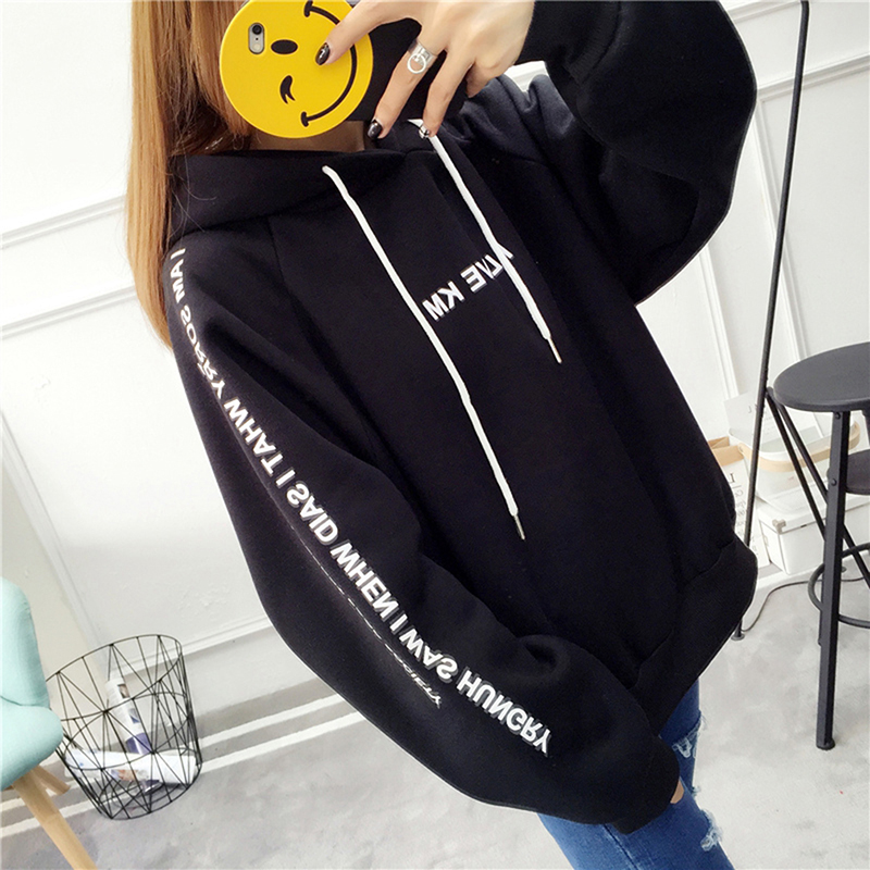 Harajuku Letters Printed Casual Hooded Hoodies Pullover Women Autumn Thick Loose Sweatshirt Female Thicken Coat