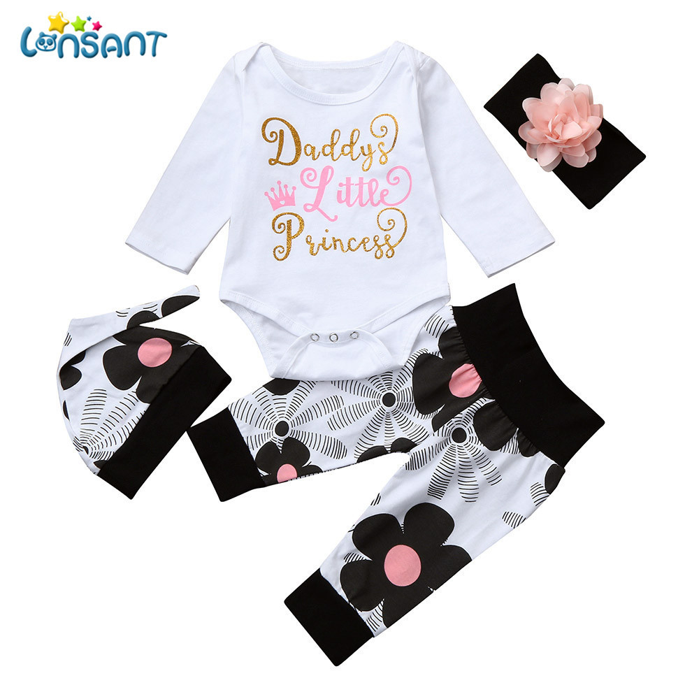 LONSANT Newborn Infant Baby Girl Letter Long Sleeve Casual Romper Tops+Floral Pants Hat 4Pcs Girls Clothes