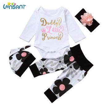 LONSANT noworodek niemowlę Baby Girl Letter długi rękaw dorywczo Romper bluzki + Floral spodnie Hat 4Pcs dziewczyny ubrania tanie i dobre opinie Moda Bawełna Sukno Baby Girls Pełne Kwiatowy O-Neck Sweter Regularne Mieszanka bawełny Pasuje do rozmiaru Weź swój normalny rozmiar