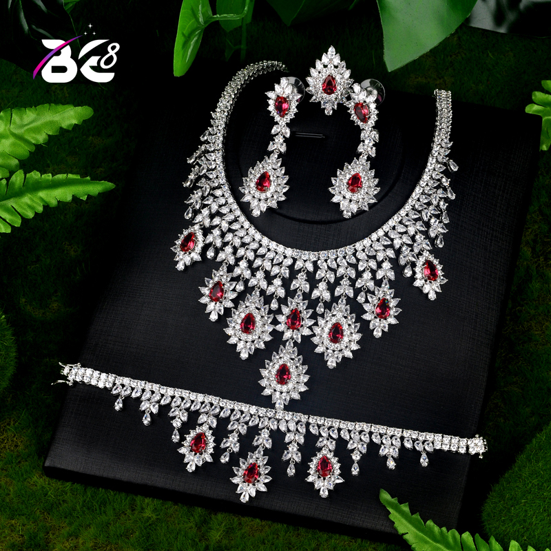Be 8 AAA CZ Classic Design Luxury Bridal Wedding Jewelry Sets Women 4pc Set Copper Bridal