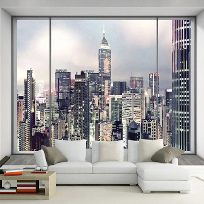 Custom Size 3D Photo Wallpaper Backdrop European Style America Modern City  Buildings Living Room Sofa