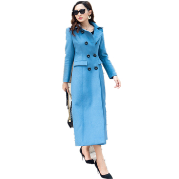 Double Breasted Wool Coat Women Long Sleeve Blue Blends Outwear 2019 Autumn Winter Clothes Elegant Overcoat Lady Long Coats