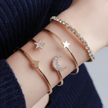 4 Pcs/set Fashion Star Moon Bracelet Love Jewelry