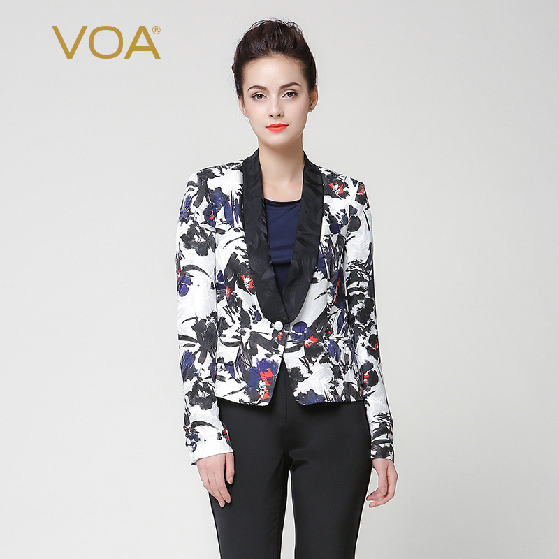 VOA 2018 Spring Autumn Office Lady Plus Size Print Slim Suit Coat Silk Jacquard Long Sleeve Casual Women Tunic Jacket W6256