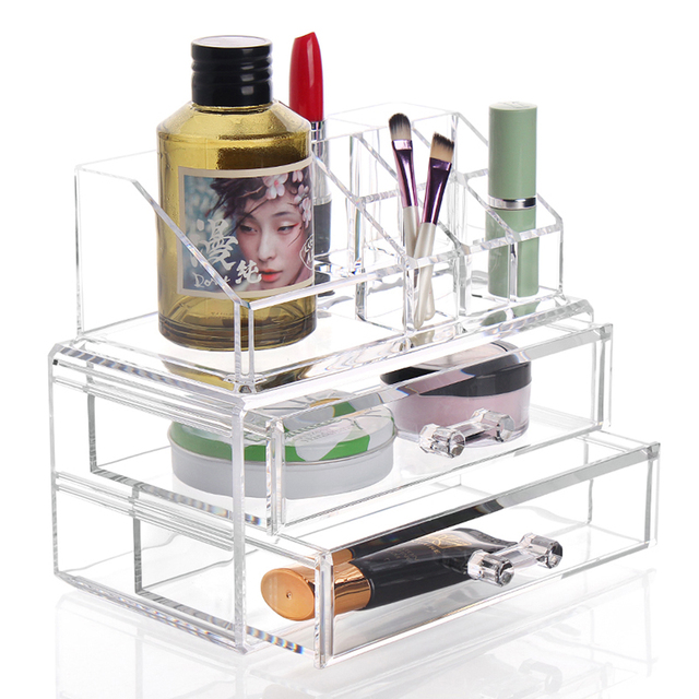 Makeup Cosmetics Organizer Clear Acrylic 2 Drawer 8 Grid Display