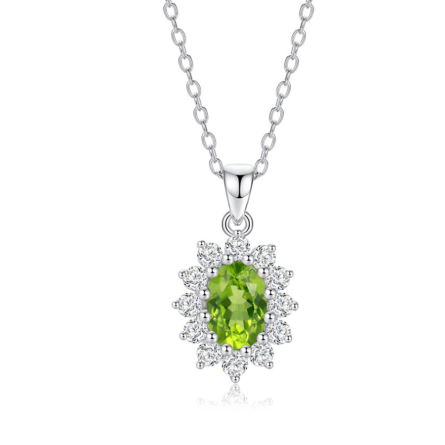 Natural Gemstone 7*5mm 0.85cts Oval Shape Manchurian Peridot With 0.52cts Round White Zircon 925 Sterling Silver Pendant
