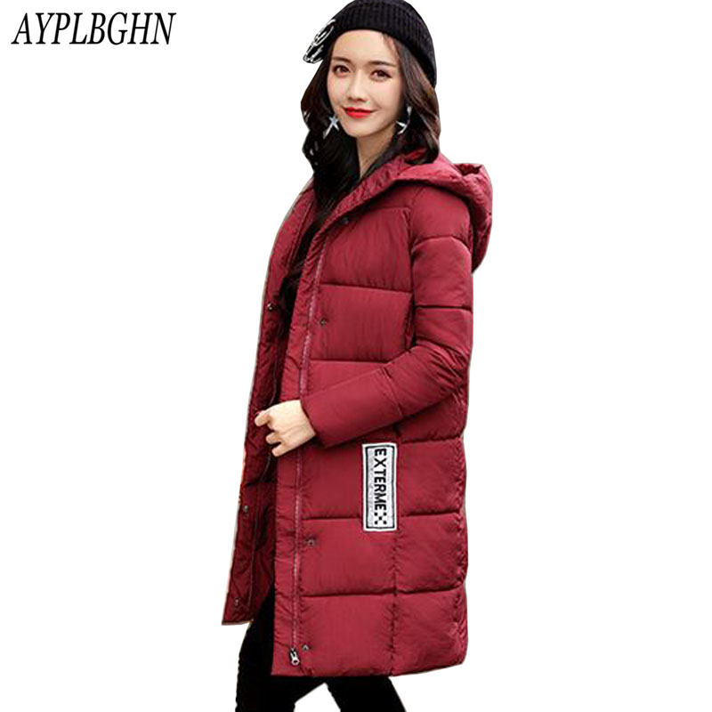 Snow Wear Women's Winter Jacket 2017 New Long Cotton Padded Female Coat Parkas Plus Size hooded Coat Slim Ladies Coats 7L94 korean winter jacket women large size long coat female snow wear cotton parkas hooded thick warm coats and jackets 7 colors