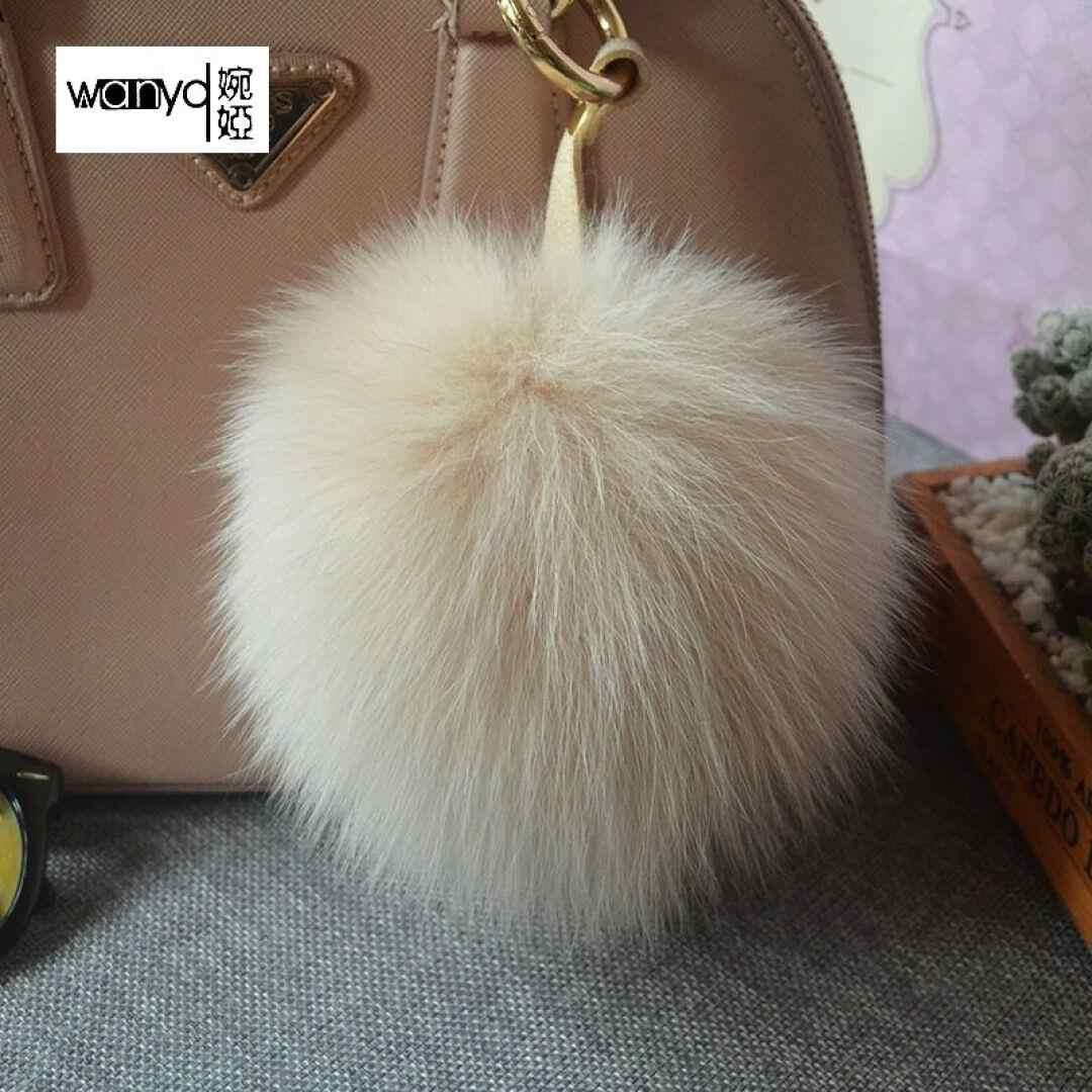 Alta qualidade Grande 15 centímetros Faux coelho fox Fur colorido Pompom bola Chaveiro Chave Titular Cadeia Mulheres saco de jóias pingente charme