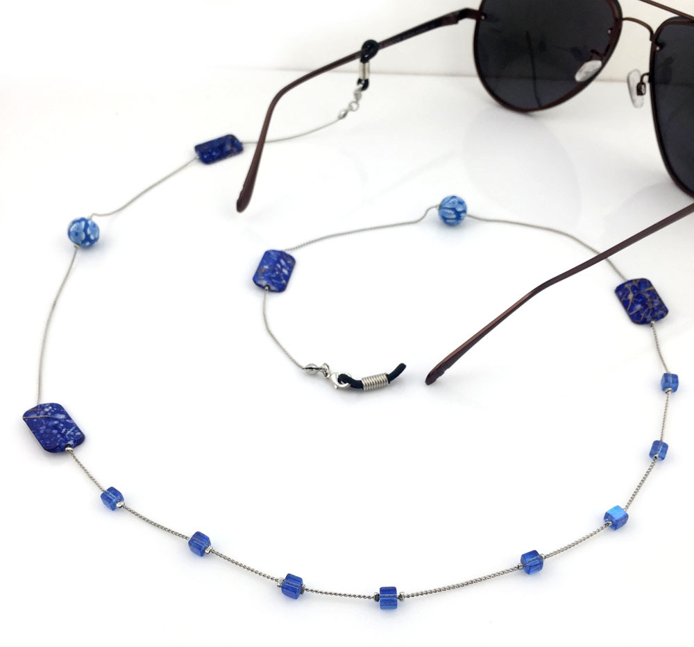 10 रंग उपलब्ध महिलाओं के विंटेज फैशन स्टोन्स चश्मा चश्मा धूप का चश्मा पढ़ना चश्मा चेन कॉर्ड धारक गर्दन का पट्टा रस्सी