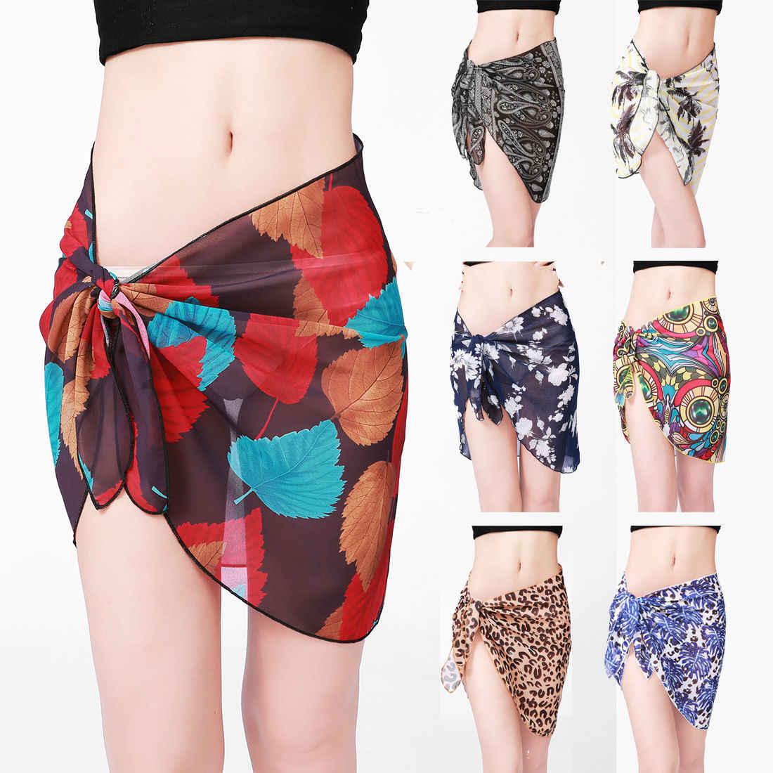 f4d5722cdd Detail Feedback Questions about New Beach Skirt Women Chiffon Short Sarong Bikini  Cover Wrap Up Summer Dress Swimwear Beachwear on Aliexpress.com