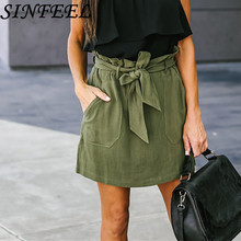 цена на SINFEEL Vacation Boho Bohemian Beach Ruffle Trim Self Tie Elastic High Waist Belted Bow Shorts Summer Women Casual Shorts