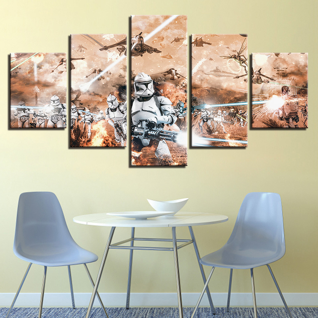 TYG Home Decorative Wall Art Paintings HD Print Modular 5 Pieces Stormtrooper Star Wars Movie Posters For Living Room Frameworks