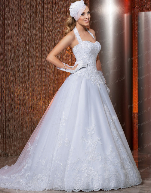 Free Shipping In Stock Halter Neck Ball Gown Bridal Gowns Corset Back Sweep Train Wedding Dress