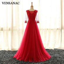 VENSANAC 2017 New A Line Lace Appliques O Neck Long Evening Dresses Elegant Half Sleeve Embroidery Sash Chiffon Party Prom Gowns