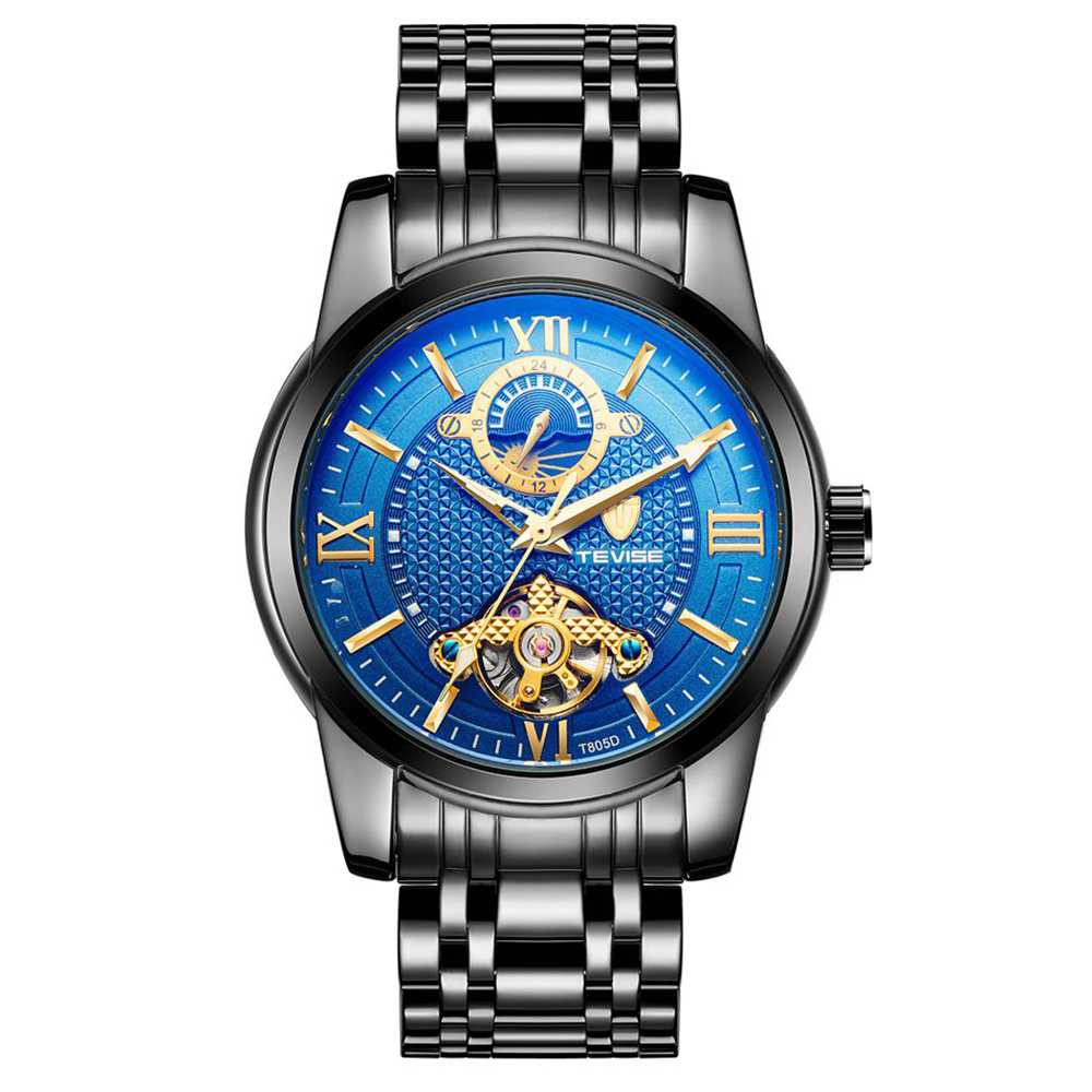 Luxury Tevise Tourbillon Watch Men Moon Phase Blue Dial Stainless Steel Automatic Mechanical Watch 24 Hour Business Clock mike davis knight s microsoft business intelligence 24 hour trainer