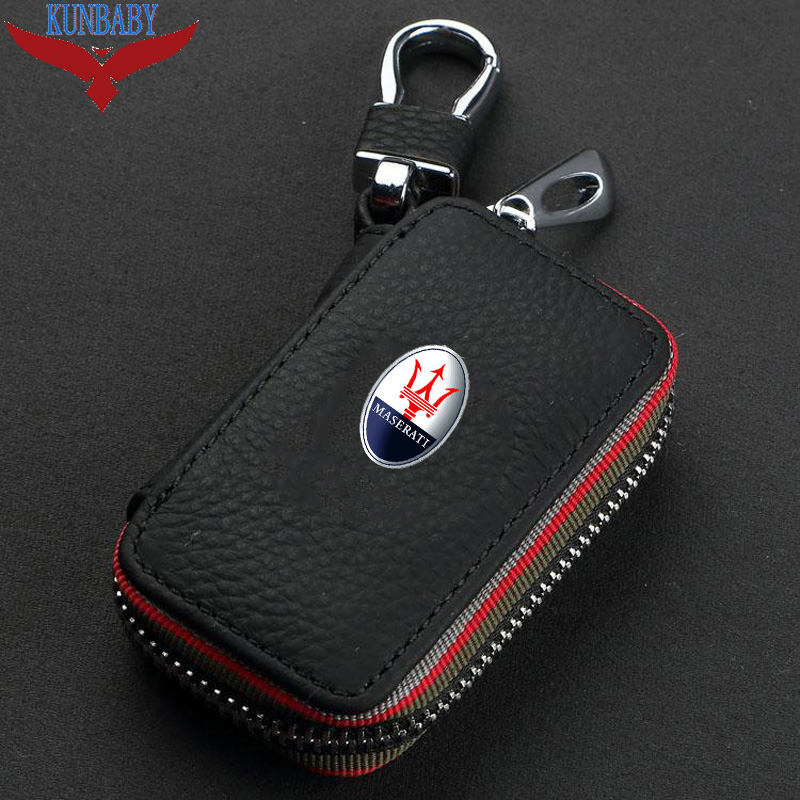 Leather cowhide Car Key Holder Keychain Ring Case Bag Fit For KIA