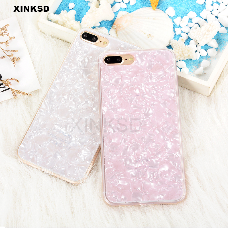Luxury Conch Shell Phone Case For iPhone X 6 6s Fashion Cute Soft Silicone TPU Back Cover For iPhone 7 8 Plus Case Funny Coque